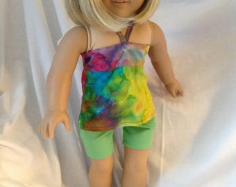 """18 inch doll like American Girl & Maplelea Tie dyed"""" Bandeau Top and Shorts"""