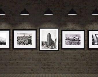 New York Print Set, New York Photography, black and white, Set of 5