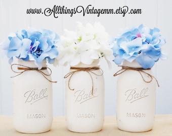 Set of 3 quart size painted mason jars, ivory, Mason jar centerpiece, farmhouse decor, rustic decor, wedding decor, shabby chic, Mason jars