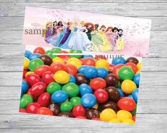 INSTANT DOWNLOAD- Disney princesses Treat Candy Bag Toppers, Favor  Bags Toppers ,  birthday treat bags toppers