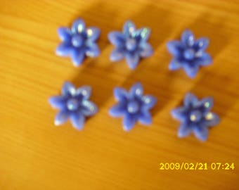 set of 6 cabochons glitter dark blue 17X6mm