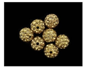 X 10 pearls shamballa 10mm Brown rhinestone crystal.