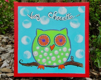 Painting OWL Valentine's day lucky one