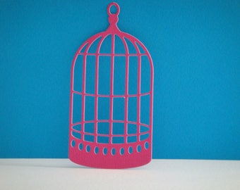 Cut bird cage fuchsia for scrapbooking and card