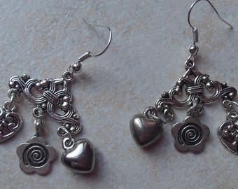 earrings with two hearts and a flower