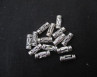 Tube 11 mm * 4 mm metal beads: set of 10