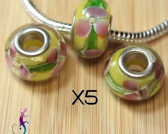 5 pendant yellow rose lampwork murano glass beads and green pandora style