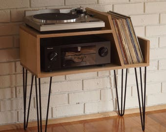 panorama reclaimed wood record player stand tv cabinet. Black Bedroom Furniture Sets. Home Design Ideas