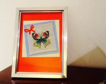 Multicolor Butterfly with silver frame