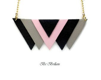Necklace leather ▲6 triangles▲chaine ball brass, pastel pink grey black