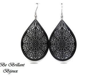 Drop earrings, black, prints filigree