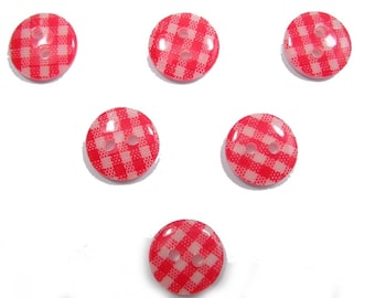 LOT 6 buttons: gingham red/white 15mm round