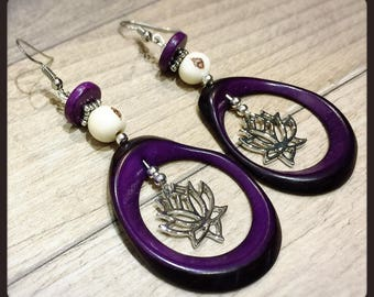 Silver earrings ivory vegetable dark purple and ivory acai