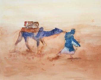 watercolor, in the desert storm