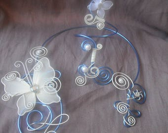 set of transparent glass, beads and Butterfly