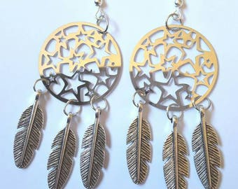 Earrings silver metal feathers and stars