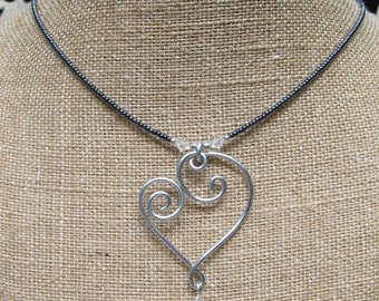 Aluminum Wire Heart Seed Bead Necklace/Earrings Set