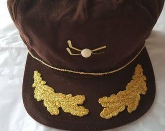 2 Vintage Golf Hat Brown/Gold