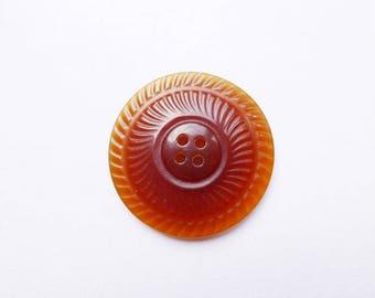 large button transparent Brown retro round 50 mm