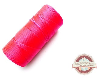 8 meters of 0.7 mm neon pink macrame waxed polyester cord