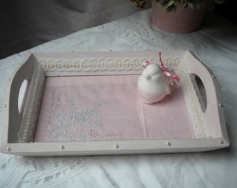TRAY, EMPTY POCKET WOODEN AND MELTS GLASS, SHABBY ROMANTIC PASTEL PINK COLOR