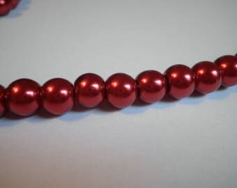 20 Red 8 mm Pearl glass beads