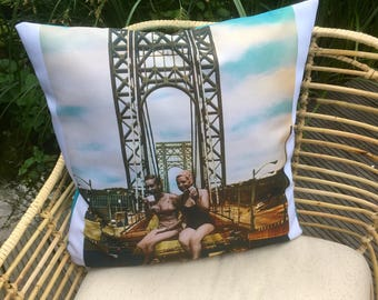 "Cushion with handmade collage. Title: ""Break on the Bridge"""