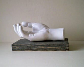 Hand cast in resin on solid wood base