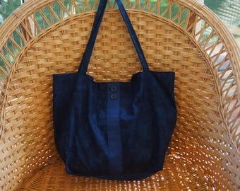 Handbag fabric blue shade.