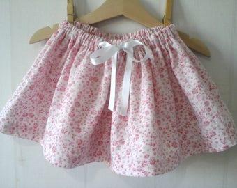 Pink floral corduroy skirt