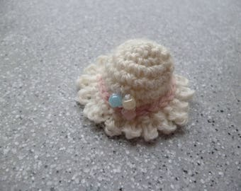 Miniature Hat crocheted by me in ecru wool and beads