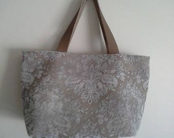 Bi material fabric tote bag taupe and ivory