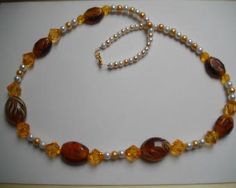 Brown and beige lampwork Bead Necklace