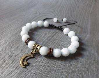 Light blue gem stones women bracelet, Pearl coconut wood and moon - B247