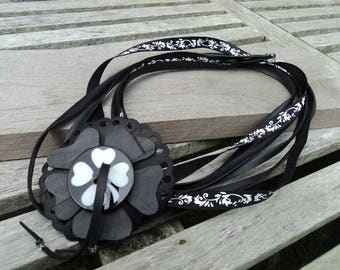 Necklace in inner tube recycled and Ribbon with removable brooch