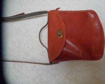 Orange and gray leather bag lined fabric shoulder