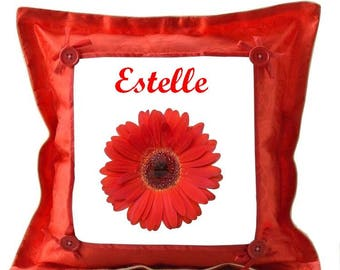 Red cushion Fleur personalized with name