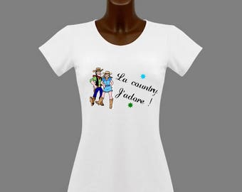 White women t-shirt I love the country