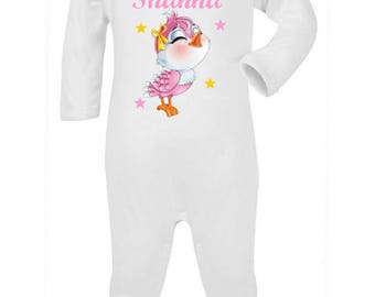 Pajamas baby little bird personalized with name