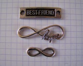 set 90 infinity link charm, best friend silver color metal