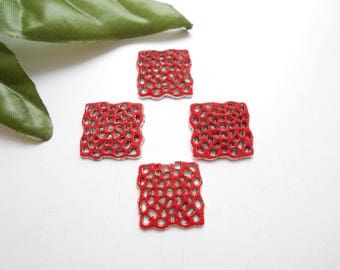 red x 4 enameled square connectors