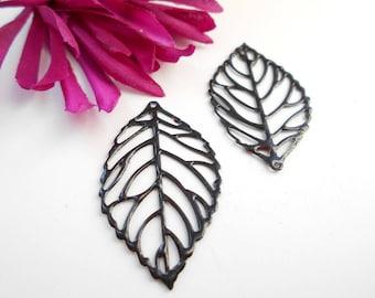 x 2 black enamel leaf prints