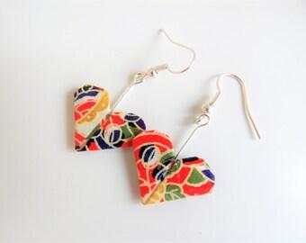 Red geometric patterned Origami heart earrings