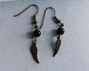 bronze angel wing earring