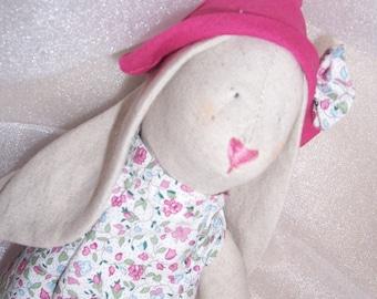 Bunny fabric, rag doll. Pink, handmade.