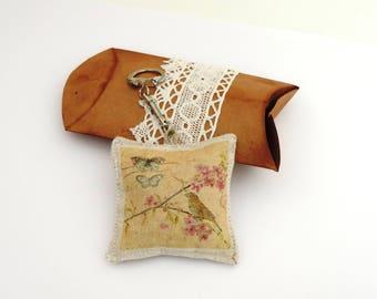 door keys and gift box, lavender, linen, handmade