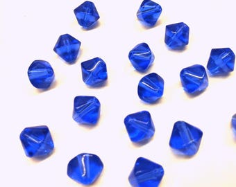 Set of 10 blue glass beads - bicone (13311) T44 shape