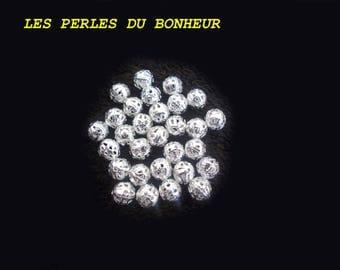set of 10 silver imitation alloy beads