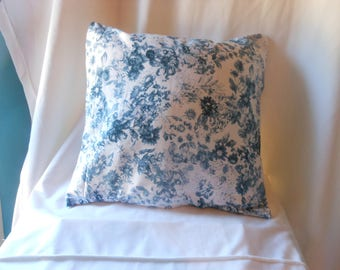 Blue and white pillow cover retro floral