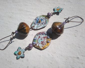 Earrings Nature sketches flowers and bird - version 1